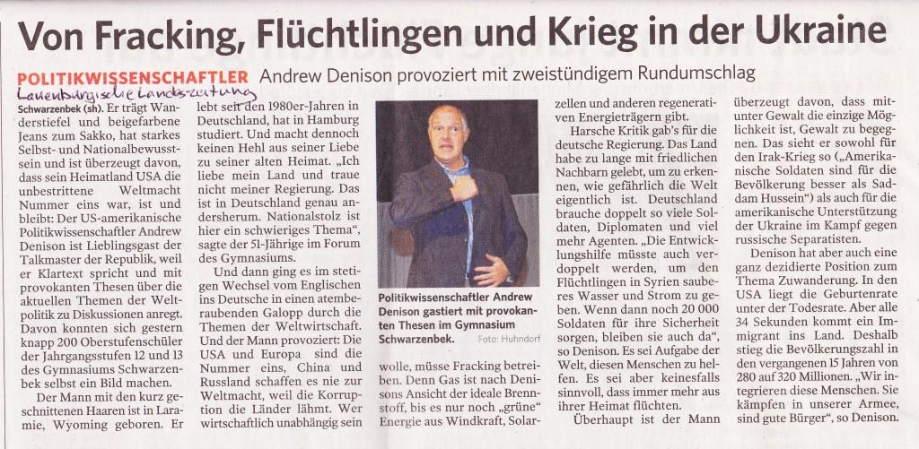 Andrew Denison im Gymnasium Schwarzenbek